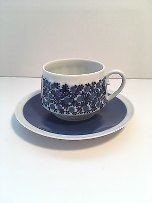 Arabia DORIA Blue White Small Coffee Cup And Saucer Mid Century Finland