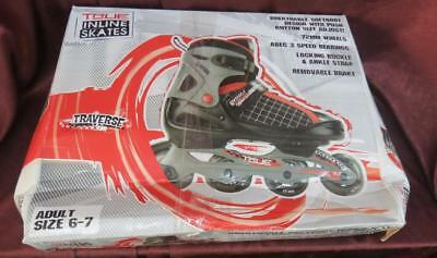 True Inline Skates Adult Size 6-7 Traverse Black with Red NEW