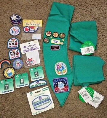 Girl Scout Sash's Patches & Pins Lot Some with Tags 25+
