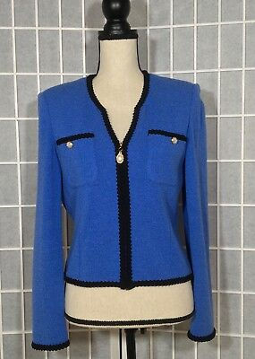 St. John Collection By Marie Gray Knit Sweater Jacket Pearl Buttons Sz 6 Blue