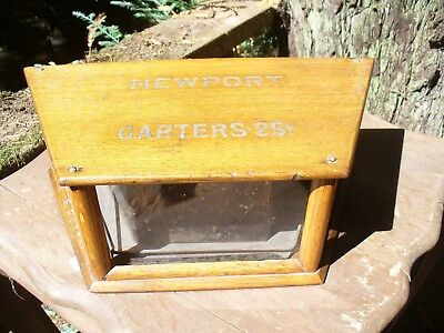 "Antique Oak Advertising Display Case ""Newport Garters"""