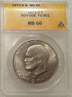 1971-D ANACS MS66 Eisenhower $1 - FS-901, TOP POP, Friendly Eagle, Finest Known