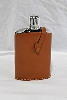 Glass Hip Liquor Bottle Whiskey Alcohol Flask W/ Rumpp Cowhide Leather Holder