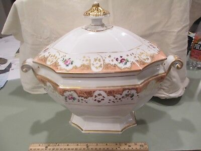 "c1850 Old Vieux Paris Porcelain Peach 16"" Soup Tureen Covered Serving Dish"