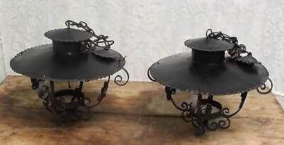 Pair of Antique Vintage Black Metal Hanging Ceiling Lights Lamps