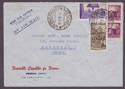 Italy postal history 1947 Messina airmail Advertising cover