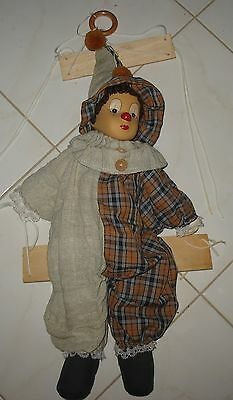Vintage Toy Clown Marionette On Swing Porcelain Head Cloth Body - Needs Repair