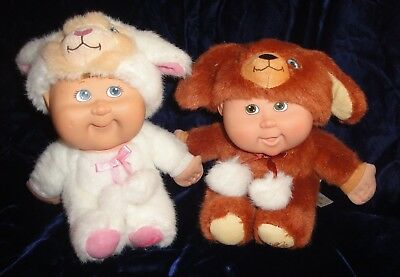 """2008 Cabbage Patch Kid Cuties Lot of 2 Babies 7"""" White Lamb Floppy Eared Puppy"""