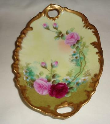 """T&V Limoges Hand Painted Oval Dish Pink Roses Scalloped Signed Leroy 7"""" Handles"""