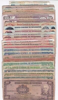 Nicaragua: Banknote - Lot Of 29 Different Notes (A630)