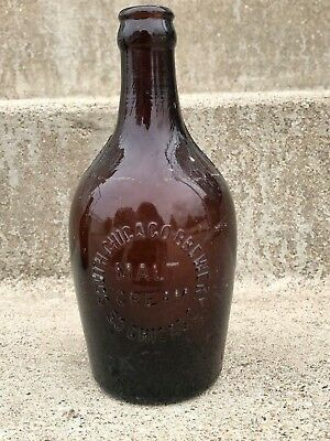 RARE Antique 1930s South Chicago Brewery Amber Pint Malt Beer Bottle Collectible