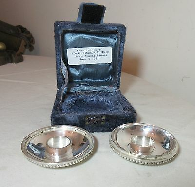 vintage pair 2 silverplate shabbat Jewish Judaica candlestick travel holders