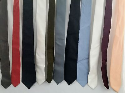 "1980s Skinny Tie Necktie Lot, SOLID Colors, 2.5"" wide, Leather, Polyester Blends"