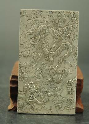 China Old Tibet silver carving zoology dragon  statue Amulet periapt Pendant