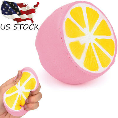"Pink Lemon Jumbo Slow Rising Scented Charms Kawaii Squishy Squeeze Toy 4.3"" US"