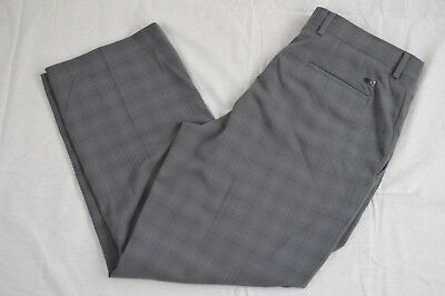 """Tiger Woods Collection Mens Flat Front Golf Pants Plaid 38 """"F"""""""