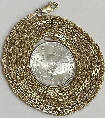 "GOLD Chain Byzantine 10K Real Hollow Y 30"" 2mm 9.1g (ask 18 20 22 24 26 28 ITALY"