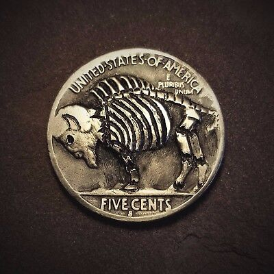Hobo Nickel Zombie Buffalo Skeleton 1936 Coin by Patrick Shanahan #13b CREEPY!