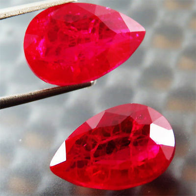 23.80 Ct Rare Awesome! Pigeon Blood Red Ruby Chatam Pear Pair 12 X16Mm