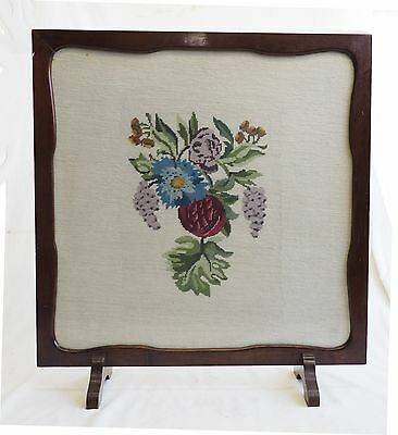 Vintage Fireplace Screen Timber Glass Tapestry Cross Stitch