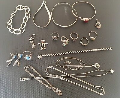 Sterling 925 Silver Jewelry Lot Rings ~ Bracelets ~ Earrings ~ Necklaces