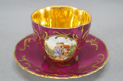 Ahrenfeldt Royal Vienna Style Courting Couple Demitasse Cup & Saucer 1891 - 1910