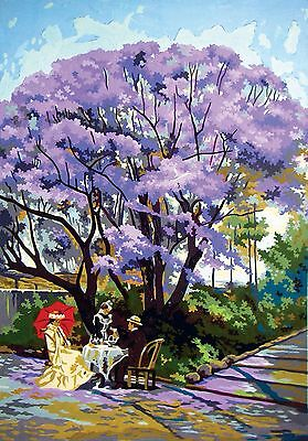 """Tapestry canvas""""Under The Jacaranda""""12979(60x80cm)colour printed by Coll D'Art"""