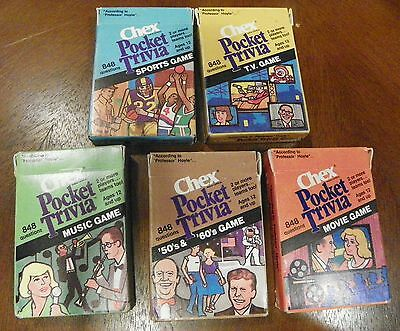 (chex) 5 Pocket Trivia Card Games According to Professor Hoyle Chex Cereal 1984