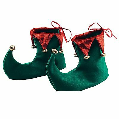 Santa's Elf Green Red Jester Boots Shoes Christmas Xmas Fancy Dress Costume Feet