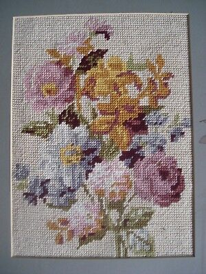 Retro - Vintage Floral Needlepoint /tapestry- Framed - Beautiful!!