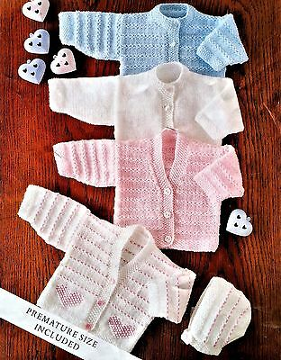 Babies Cardigans and Bonnet  Includes Premature Sizes,  Knitting Pattern, PDF
