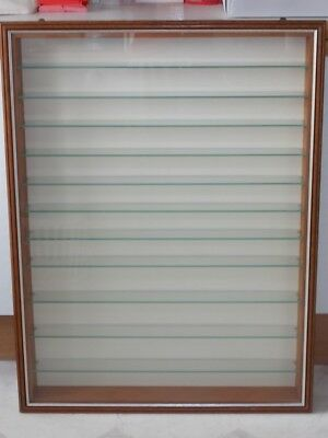 Wood and glass front model display cabinet - wall hung with glass shelves