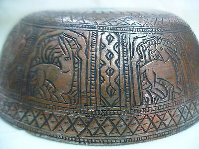 Dish Antique Handmade Copper Bowl Safavid Persian Middle East Deers Around