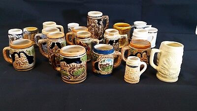 Collection of 21 Mini Beer Mugs / Steins / Glasses