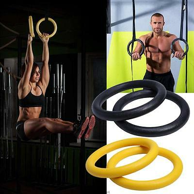Gymnastic Gym Rings Hoop Cross fit Exercise Fitness Home Workout Hoop Strap Pair