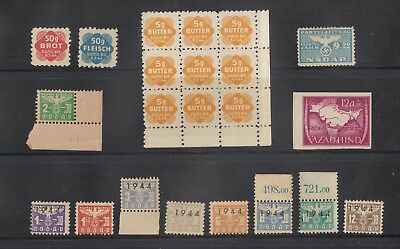German. 2nd World War Revenues Total 22 Stamps Mint some have no gum