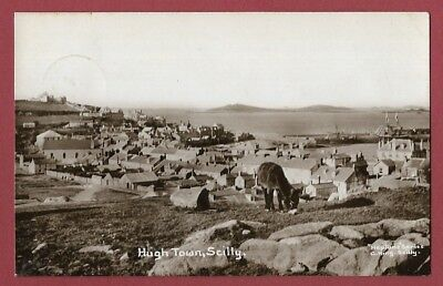 Real Photograph Postcard 1912 - Hugh Town Scilly - St Mary's Landscape - Rp.