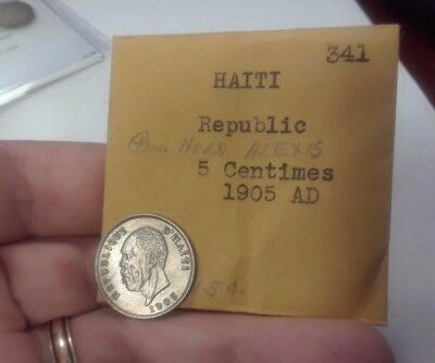 Haiti: 5 centimes, 1905(w), KM53, Choice AU++ (borderline UNC)