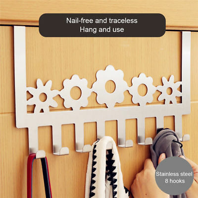 Stainless Steel Adhesive Hook Coat Hat Bathroom Kitchen Towel Hanger Wall Door