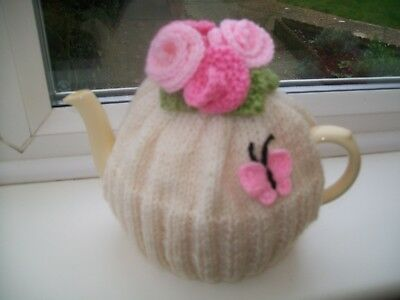 Hand Knitted  Tea Cosy  Roses And Butterfly Tea Cosy For 3-4 Cup Teapot