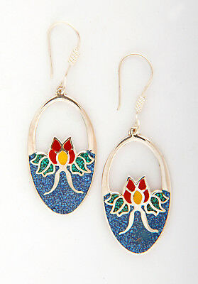 Tumi 925 sterling silver crushed turquoise oval flower drop earrings Mexico