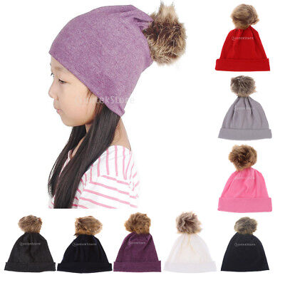 Toddler Girls Boys Cotton Adjustable Knot Hat Cotton Beanies with Pompom