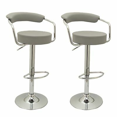 2x GREY TOLEDO FAUX LEATHER BREAKFAST BAR STOOLS SWIVEL GAS LIFT CHAIRS