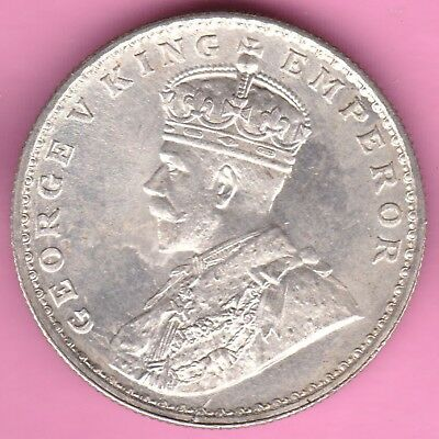 British India-1918-One Rupee-King George V-Rarest Beautiful Silver Coin-7