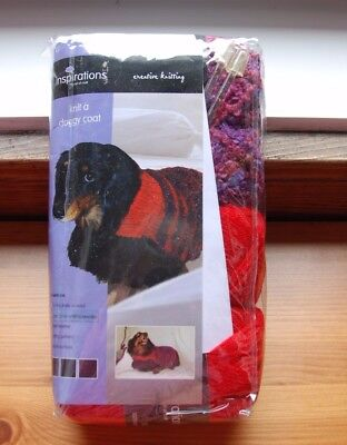 Dog coat knitting kit for small dog - contains yarn needles & pattern