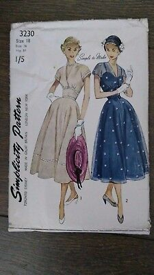 "Vintage 1950s Simplicity Simple to Make Dress Sewing Pattern #3230  36"" Bust"