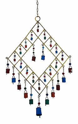 """SALE"" Gold Metal Wind Chime Coloured Cow Bells/Glass Beads, Feng Shui, Hippy-Lg"