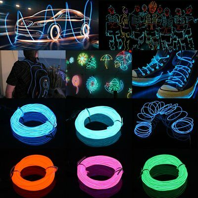 Neon LED Light Glow EL Wire String Strip Rope Tube Car Party with Battery Box