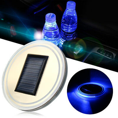 2X Solar LED Blue Cup Holder Powered Car SUV Bottom Pad Mat Cover Trim Lamp New