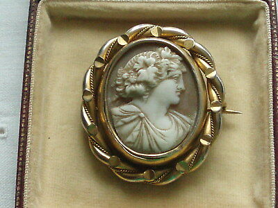 Antique Victorian Carved Shell Cameo Swivel Brooch Of Flora Goddess Of Flowers
